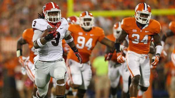 Here is Todd Gurley running off and leaving Clemson last year. He's all better after a knee injury, so expect him to do this a lot Saturday. (Source: Chris Collins/UGA Athletics)