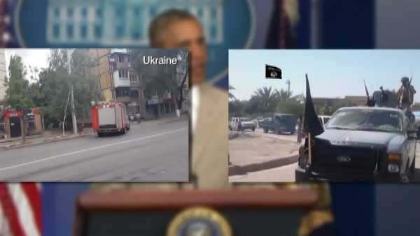 President Obama said there is no set strategy to tackle IS terrorists or put U.S. troops on the ground in eastern Europe in Ukraine. (Source: CNN)