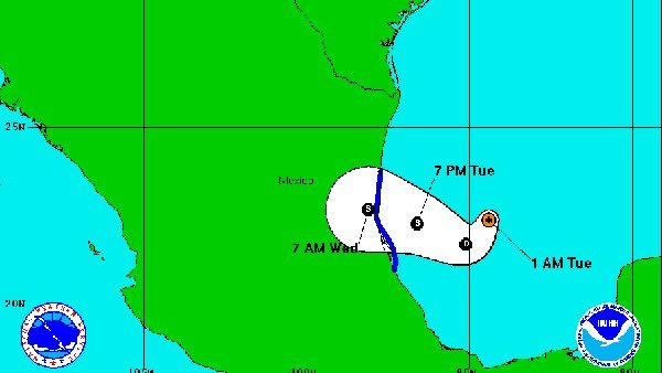 Dolly, the fourth named storm of the 2014 Atlantic hurricane season, is expected to make landfall in Mexico. (Source: National Hurricane Center)