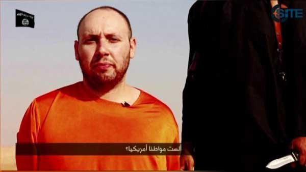 Stevven Sotloff is shown in a video released by the terrorist group ISIS. (Source: CNN)