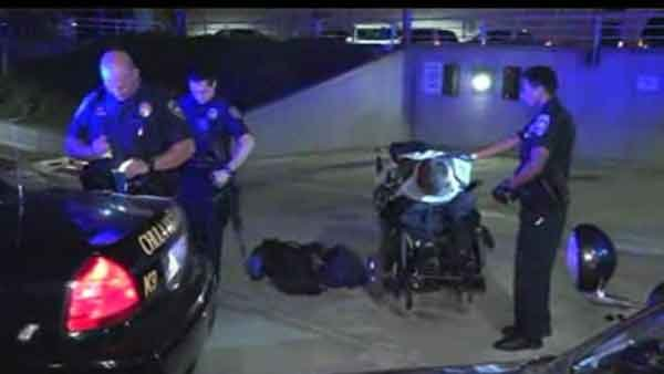 A wheelchair-bound robbery suspect led police on a chase in California. (Source: KGTV/CNN)
