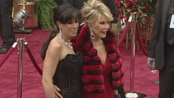 Joan Rivers, right, and daughter Melissa Rivers on the red carpet. (Source: POOL/CNN)
