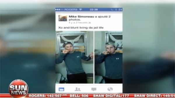 The photos of Simoneau-Meunier from Wednesday, posted on his Facebook with that caption: 'Xo and blunt living da jail life.' (Source: Facebook/Sun News Network Canada)