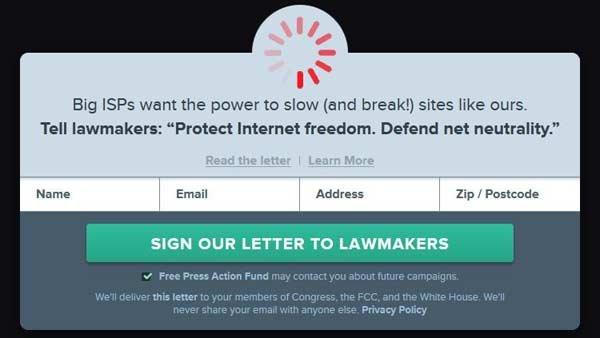 Websites are 'slowing down' to show users what the FCC's proposed rules might make the internet look like. (Source: Battleforthenet.com)