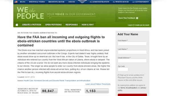 A petition on the website We the People requests the FAA ban flights from Ebola-stricken countries in West Africa. (Source: We The People website)