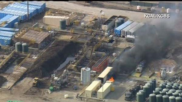 A vacuum truck explosion caused multiple injuries in Santa Paula, CA, on Tuesday morning. (Source: KCAL/KCBS/CNN)