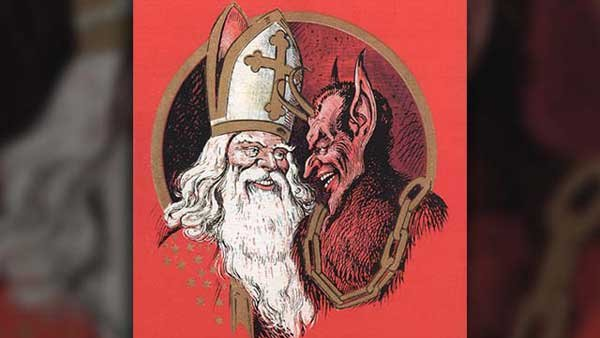 St. Nicholas and Krampus visit kids to find out how they behaved during the year. (Source: Wikimedia Commons/Public Domain)