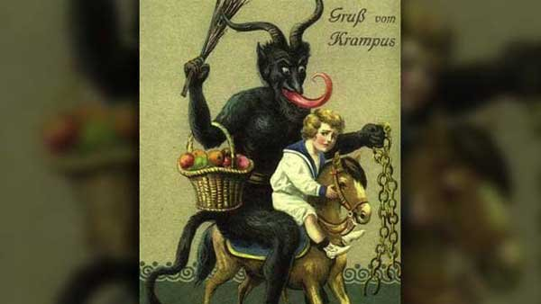 Krampus punishes naughty kids with lumps of coal, potatoes, switches or nothing at all. (Source: Wikimedia Commons/Public Domain)