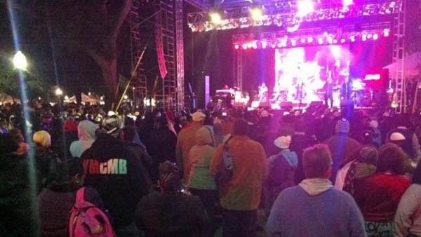 "Crowds at the MoonPie over Mobile celebration gather at the main stage to watch Evelyn ""Champagne"" King and the Village People. (Source: WLOX)"