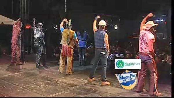 The Village People perform at MoonPie over Mobile before midnight on Dec. 31. (Source: WLOX)