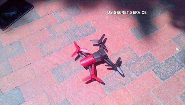 After an unsuccessful attempt to fly over the White House, this drone awaits inspection by the U.S. Secret Service. (Source: U.S. Secret Service/CNN)