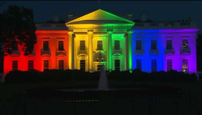 The White House was lit in rainbow colors Friday. (Source: CNN)