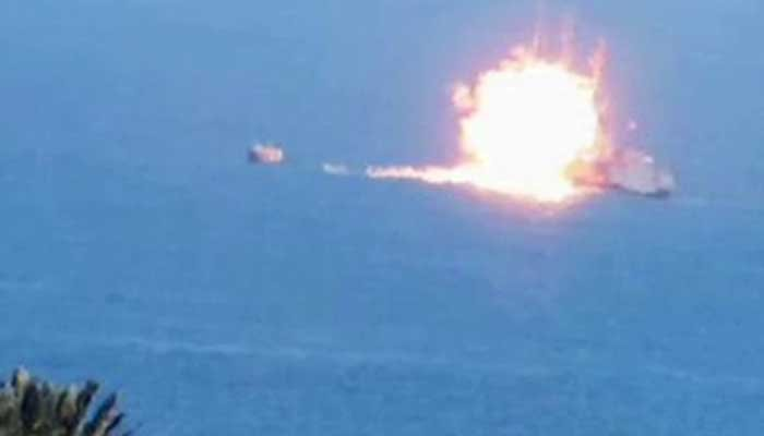An ISIS released photo allegedly shows a militant attack on an Egyptian ship. (Source: ISIS/CNN)