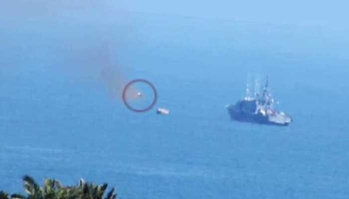 An ISIS-released photo allegedly shows a missile headed toward an Egyptian Navy ship. (Source: ISIS/CNN)
