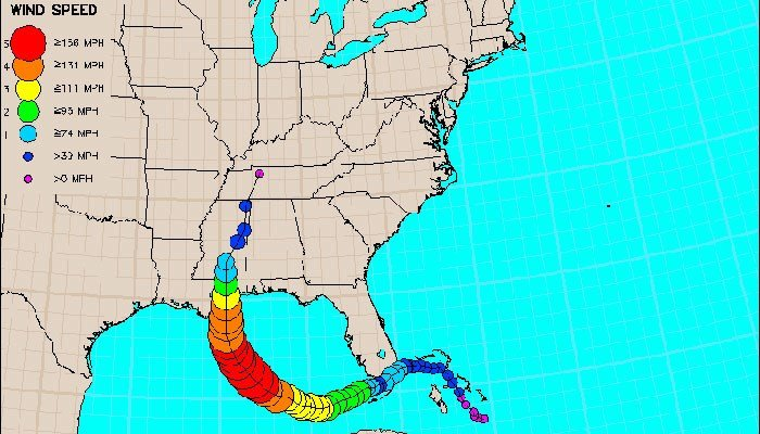 Path of Hurricane Katrina. (Source: NOAA)