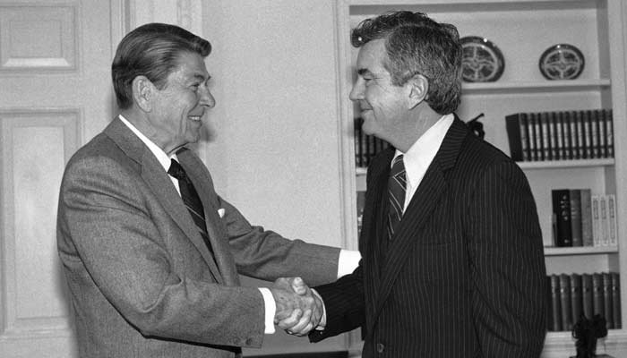 President Reagan bids farewell to Jerry Parr, the Secret Service agent on Feb. 27, 1985 in Washington that he credits with saving his life during an assassination attempt . Parr retired after 22 years. (Source: AP Photo/Barry Thumma)