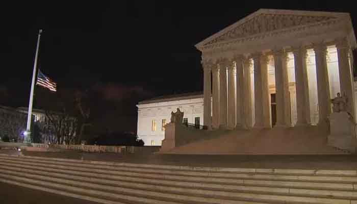 The flag outside the Supreme Court building was lowered to half-staff in Scalia's honor. (Source: CNN)