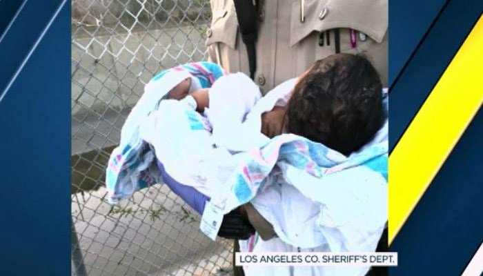 Deputies said the newborn would not be alive if it weren't for the women who heard her cries. (Source: Los Angeles Sheriff's Dept./KABC/CNN)