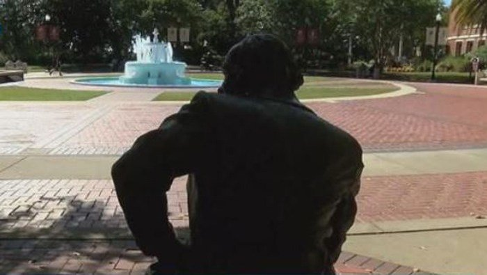 Francis Eppes was once commemorated as the founder of Florida State, and until early Thursday morning his statue was on the school's Westcott Plaza. (Source: WTXL, file)