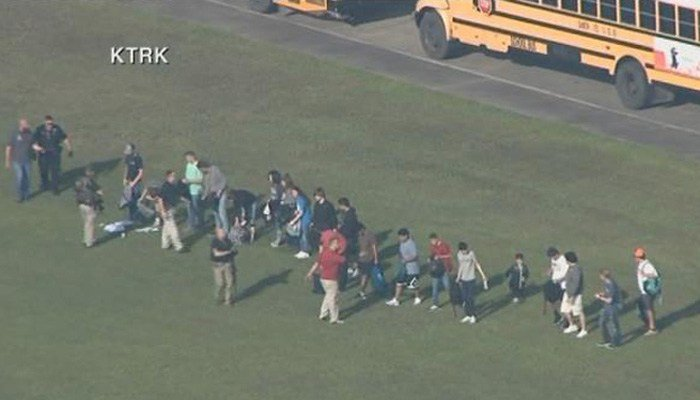 Police have responded to reports of an active school shootingsituation in Santa Fe, TX. (Source: KTRK/CNN)