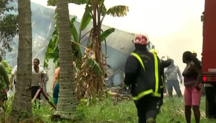 At least 100 people were on a plane that crashed after taking off from Havana, Cuba. (Source: CNN/CUBAVISION)