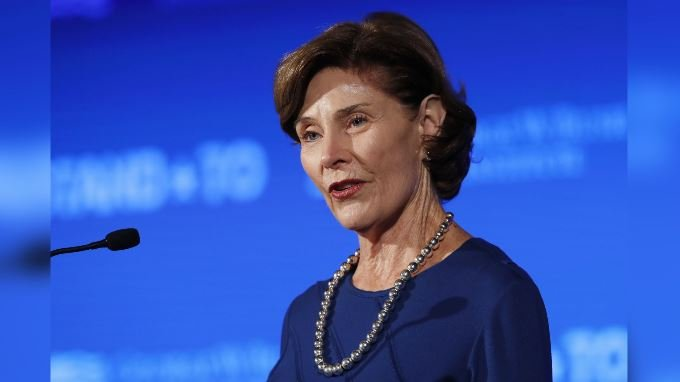 """Former first lady Laura Bush speaks Friday, June 23, 2017, during """"Stand-To,"""" a summit held by the George W. Bush Institute focused on veteran transition, in Washington. (AP Photo/Jacquelyn Martin)"""