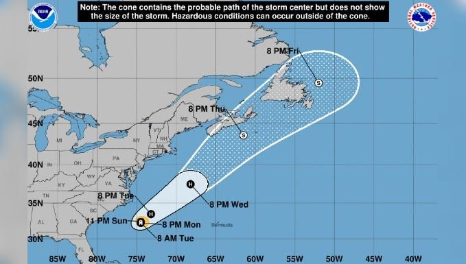 Further strengthening of the storm is likely, and Chris is expected to become a hurricane Monday. (Source: National Hurricane Center)