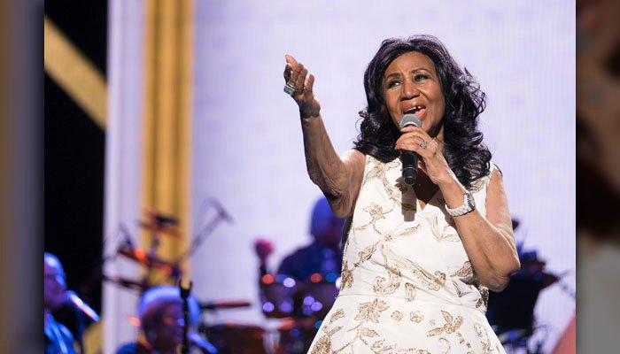"""Aretha Franklin performs at the world premiere of """"Clive Davis: The Soundtrack of Our Lives"""" at Radio City Music Hall, during the 2017 Tribeca Film Festival, Wednesday, April 19, 2017, in New York. (Source: Charles Sykes/Invision/AP)"""