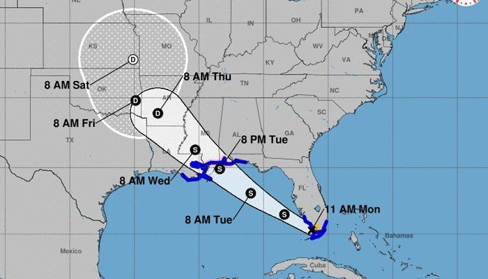 Tropical Storm Gordon will bring rain, strong wind and storm surge to the central Gulf Coast. (Source: NHC)