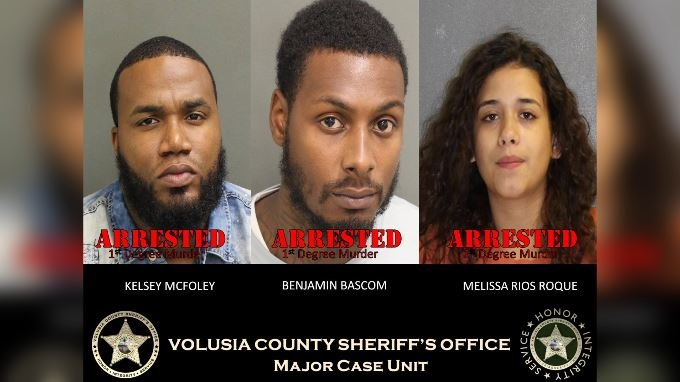 The three suspects were arrested and charged with first-degree murder. (Source: Volusia County Sheriff's Office/Facebook)