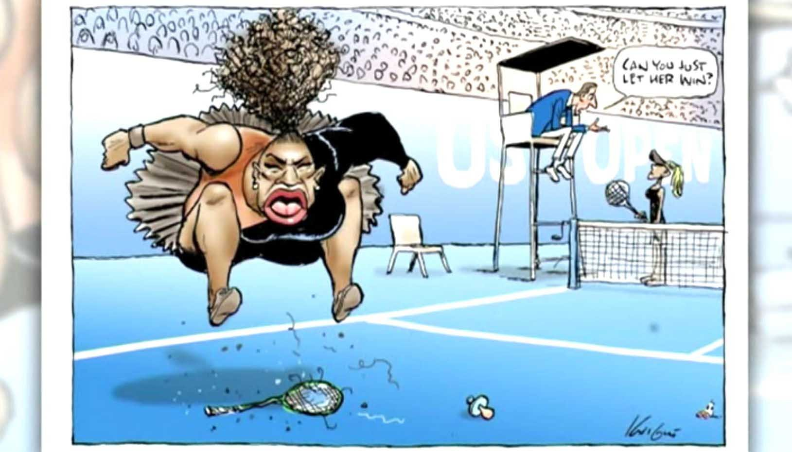 An Australian newspaper has doubled down on a cartoon of Serena Williams widely denounced as racist both at home and abroad. (Source: Nine Network/The Herald Sun/CNN)