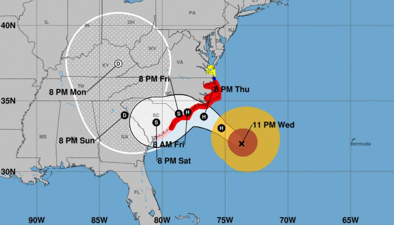 Hurricane Florence is expected to make landfall Friday along the coast of the Carolinas. (Source: NHC)