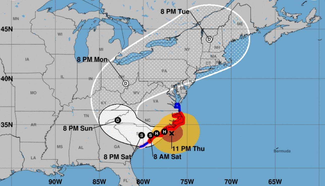 Hurricane Florence is beginning to come ashore, lashing the coasts of the Carolinas. (Source: NHC)