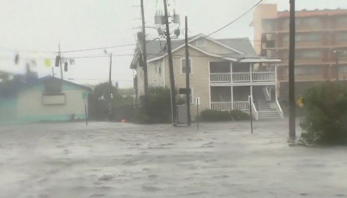 Hurricane Florence continues to dump huge amounts of rain, flooding streets, streams and rivers around North Carolina. (Source: WNCN/CNN)