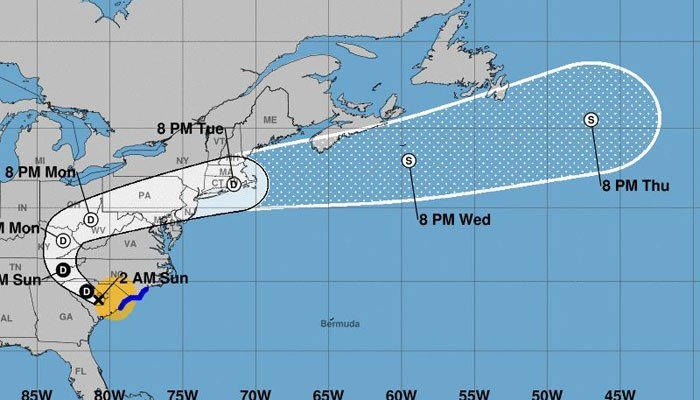 Florence is expected to turn toward the northwest Sunday, according to the NWS. This will take it over the Ohio Valley and Northeast U.S. (Source: NHC/NOAA)
