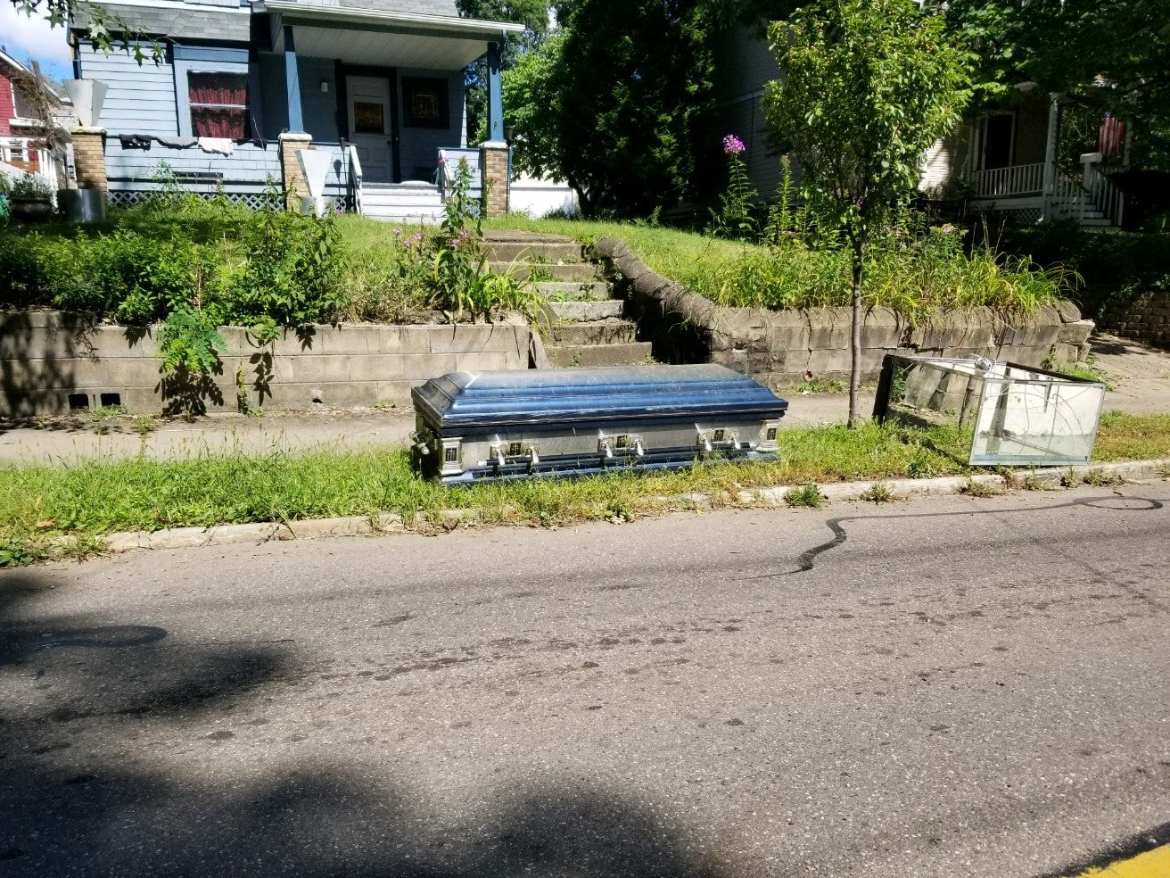 A casket in Akron was left for the trash. Some of the story behind it remains a Halloween Mystery. (Source: Heather Bailey)