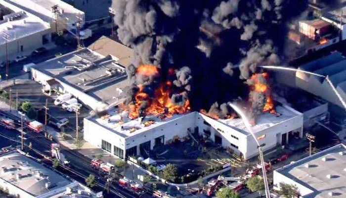 The building that caught fire is in the Glassell Park area of the city, in northeast Los Angeles. (Source: KCAL/KCBS/CNN)