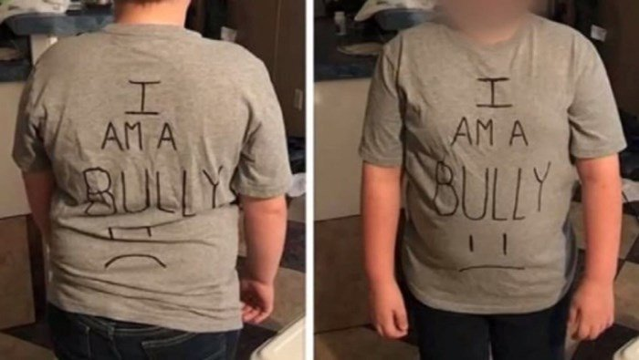 A Texas mom made her fifth grader son wear the 'bully' shirt to school to teach him a lesson. (Source: Parent/KTRK/CNN)