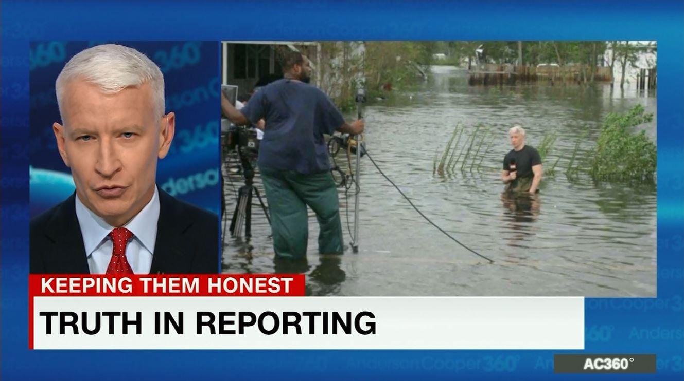 Anderson Cooper said the idea he was kneeling in water to make it look deep is idiotic.  (Source: CNN)