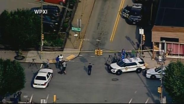 Police respond to a shooting at a judge's office near Pittsburgh. (Source: CNN/WPXI)