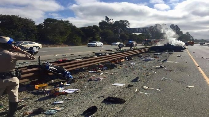 The crash happened when a distracted driver crashed into the center divider, causing her truck to roll over multiple times, the CHP said. (Source: CHP Santa Cruz/Facebook)