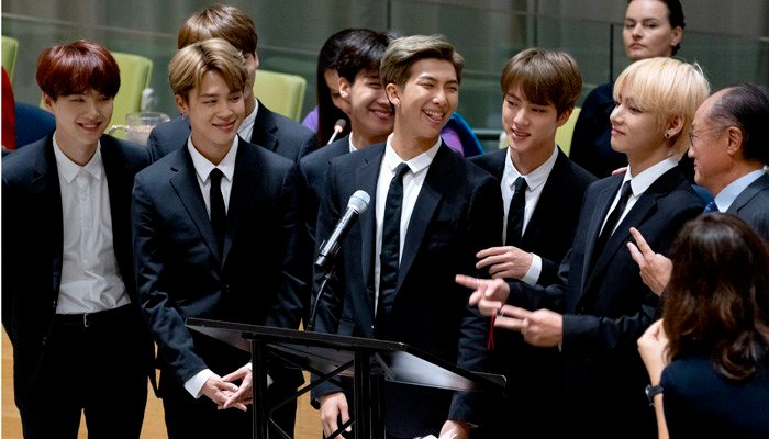 Members of the Korean K-Pop group BTS attend a meeting at the U.N. high level event regarding youth during the 73rd session of the United Nations General Assembly, at U.N. headquarters, Monday, Sept. 24, 2018. (Source: AP Photo/Craig Ruttle)